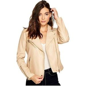 Cute cream imitation leather jacket 🧥